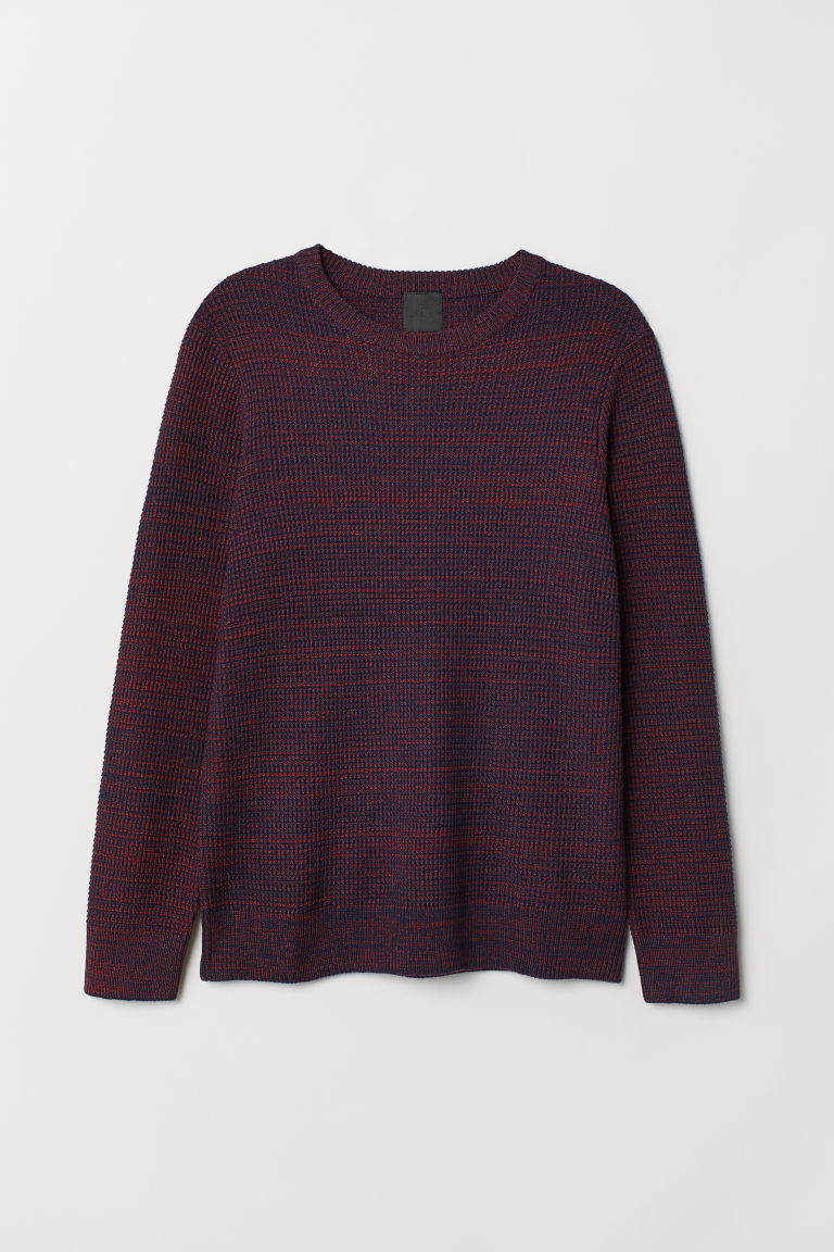 Textured-knit jumper - Dark blue/Red marl - Men | H&M GB