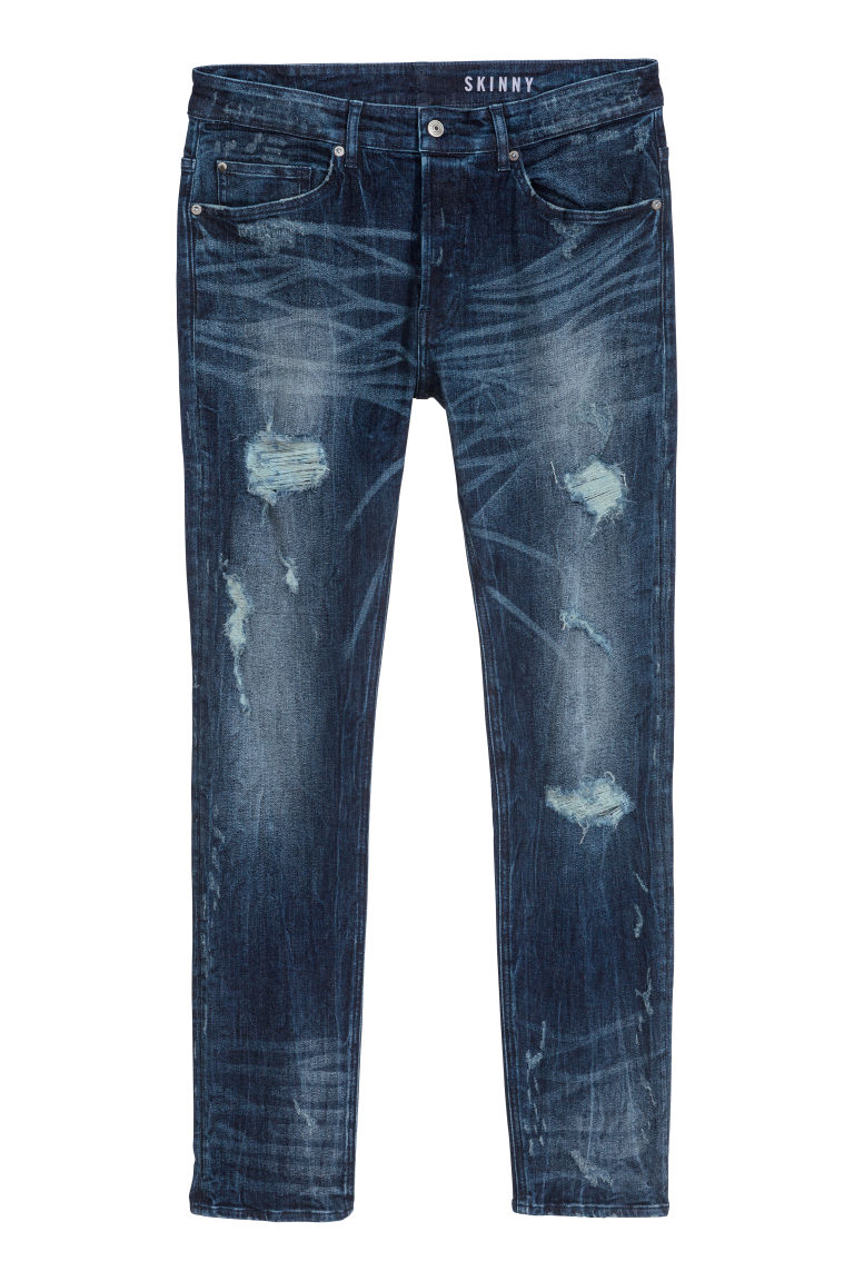 Trashed Skinny Jeans - Donker denimblauw - HEREN | H&M BE
