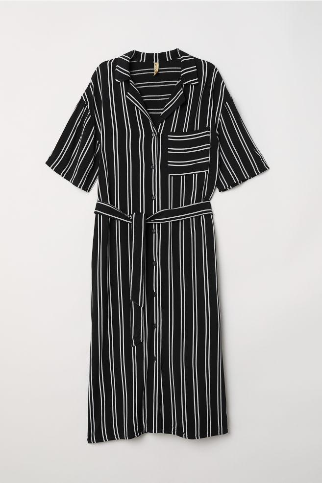 bb4849cdebd39 Striped Shirt Dress - Black white striped - Ladies