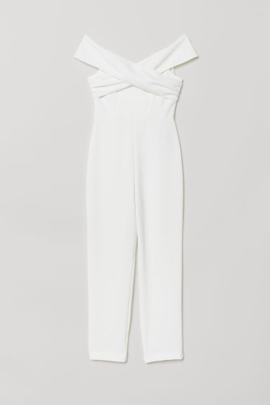 Off-the-shoulder jumpsuit - White - Ladies | H&M CN