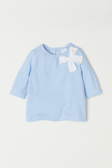 Jersey top with a bow - Light blue/White striped - Kids | H&M CN