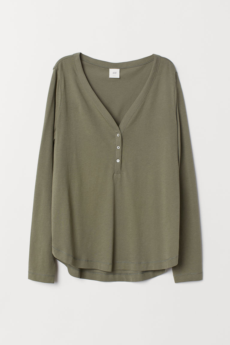 V-neck jersey top - Khaki green - Ladies | H&M