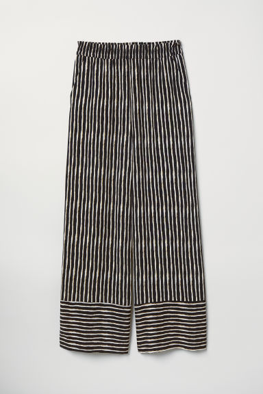 Striped pull-on trousers - Black/Striped - Ladies | H&M