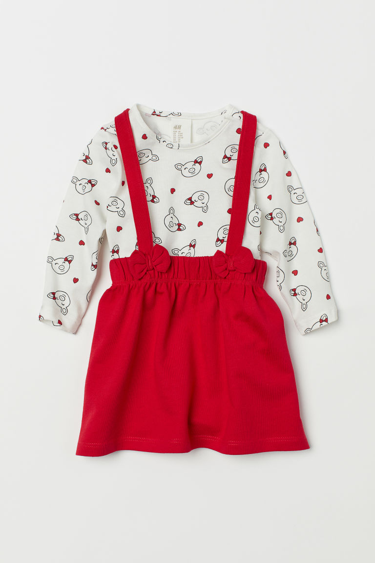 Top and Bib Overall Dress - Red/pigs - Kids | H&M US
