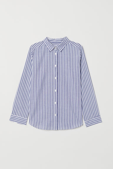 Patterned cotton shirt - Blue/White striped - Kids | H&M