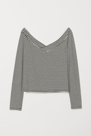 Off-the-shoulder top - White/Striped - Ladies | H&M CN