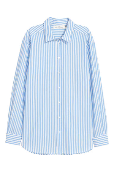 Cotton shirt - Light blue/White striped - Ladies | H&M GB