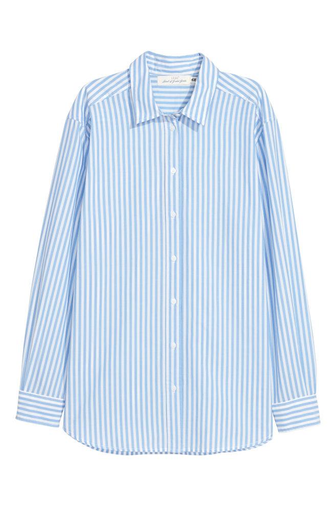 c93291fdc7ba3 Cotton shirt - Light blue/White striped - Ladies | H&M ...