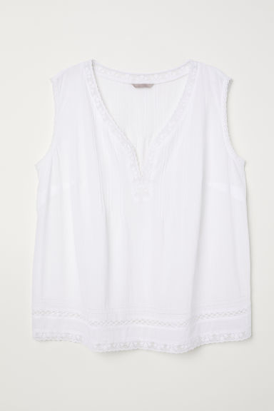 H&M+ Sleeveless cotton top - White - Ladies | H&M