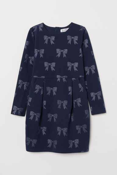 Long-sleeved jersey dress - Dark blue/Bows - Kids | H&M
