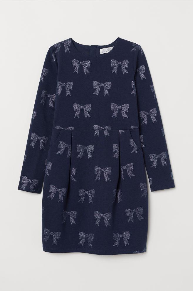 eeb48b17b92f5f Tricot jurk met lange mouwen - Donkerblauw strikjes - KINDEREN