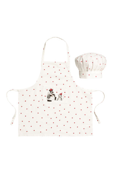 Apron and chef's hat - Natural white/Raccoon -  | H&M IE