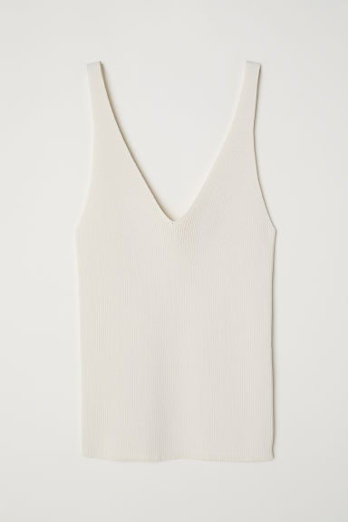 Ribbestrikket topp - Cream - DAME | H&M NO