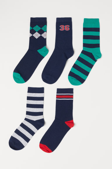 5-pack socks - Dark blue/Multicoloured - Kids | H&M