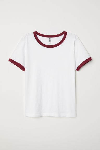 Short T-shirt - White -  | H&M CN
