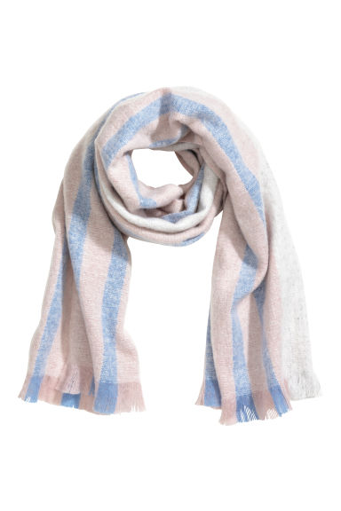 Block-print scarf - Powder pink/Light blue - Ladies | H&M