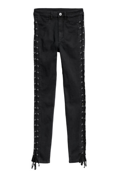 Twill Pants with Lacing - Black -  | H&M US