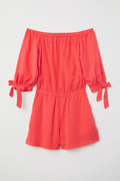 Off-the-shoulder playsuit - Coral - Ladies | H&M