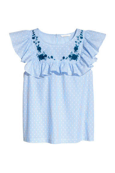 Plumeti weave top - Light blue/White striped - Ladies | H&M IE