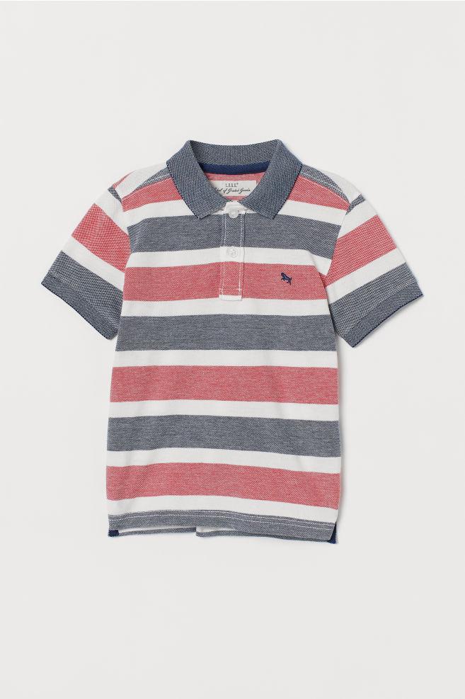 9a4b3e88 ... Polo shirt - Light red/Blue striped - Kids | H&M ...