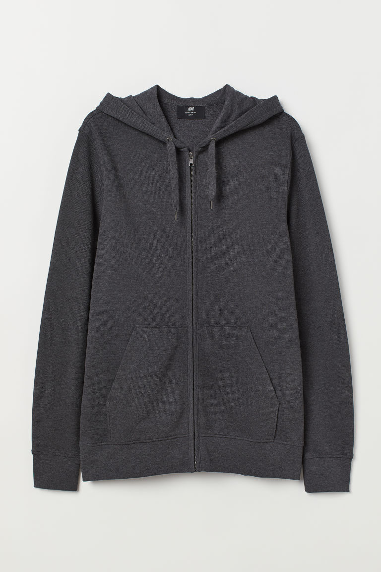 Piqué hooded jacket - Dark grey - Men | H&M GB