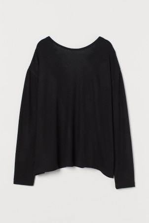 Lace-trimmed V-neck jumper