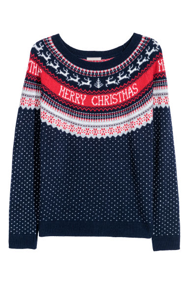 H&M+ Jacquard-knit jumper - Dark blue - Ladies | H&M CN
