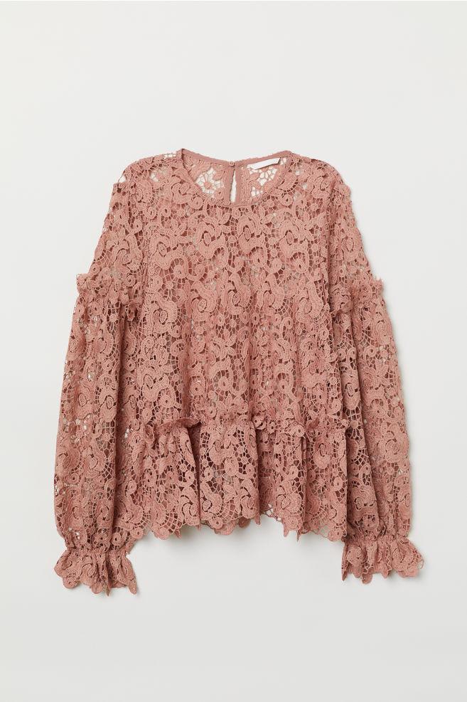 cf157ddfbe5 Блузка из кружева с вышивкой - Винтажный розовый - Женщины