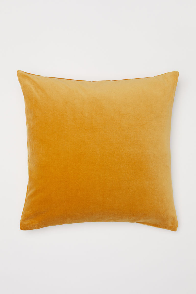 Cotton velvet cushion cover - Lion yellow - Home All | H&M GB