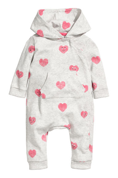 Printed jersey all-in-one suit - Light grey/Hearts -  | H&M