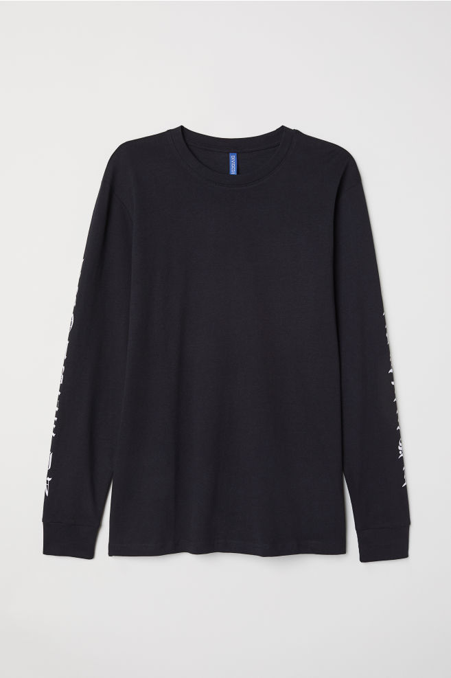 2a163f5d Long-sleeved top - Black/Trouble In Paradise - Men | H&M ...