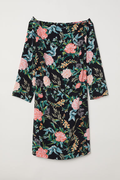 H&M+ Knee-length dress - Black/Floral - Ladies | H&M CN