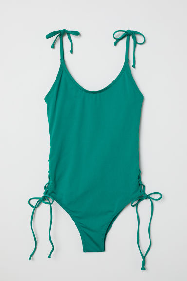 Swimsuit with lacing - Emerald green - Ladies | H&M CN