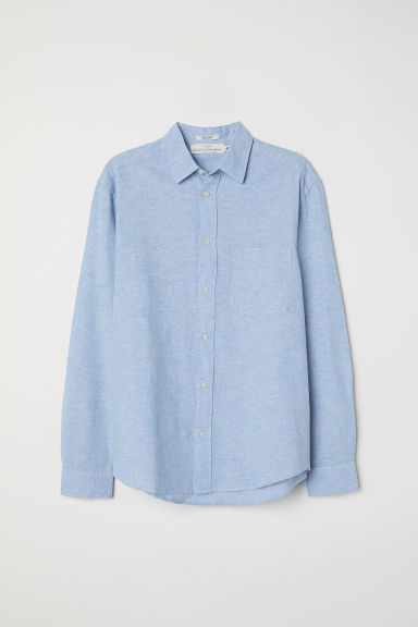 Camicia misto lino Regular fit - Azzurro - UOMO | H&M IT