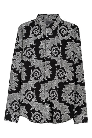 Patterned shirt Slim fit - Black/Patterned - Men | H&M CN