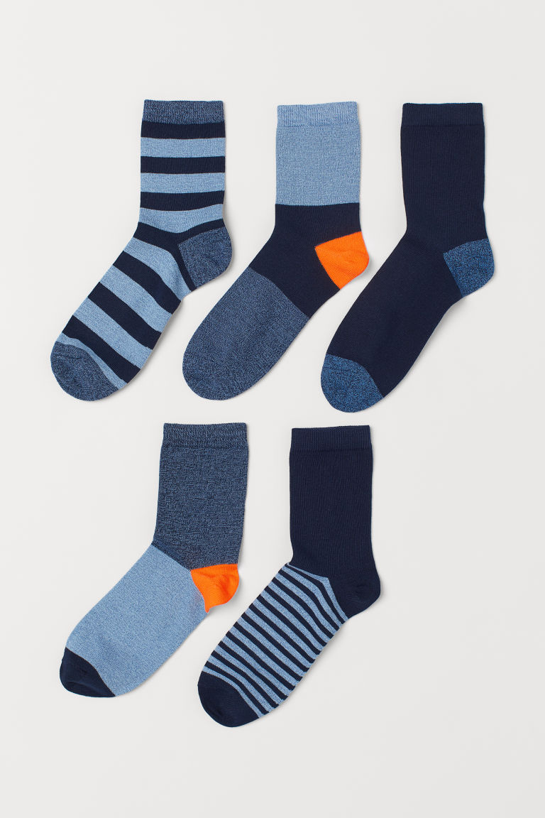 5-pack socks - Dark blue/Striped - Kids | H&M IE