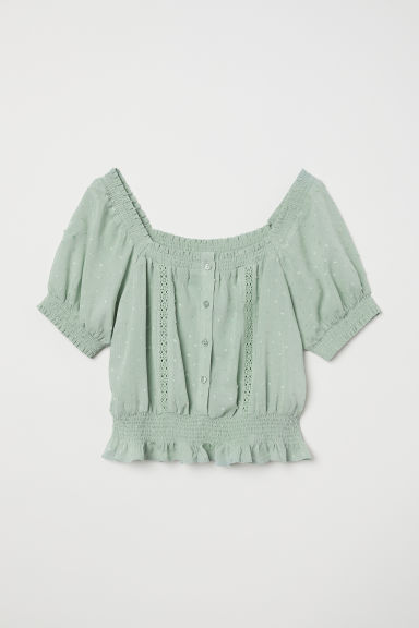Textured blouse - Dusky green - Ladies | H&M CN
