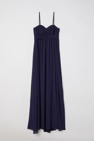 Long bandeau dress - Dark blue -  | H&M