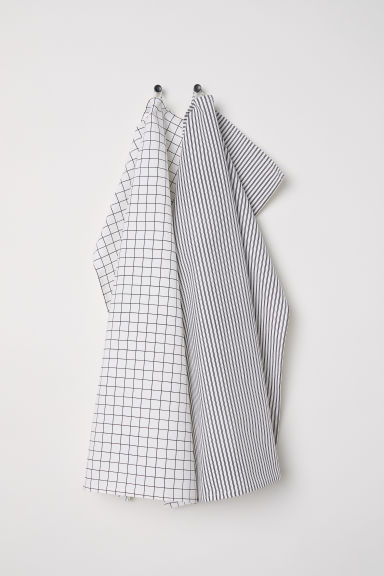 2-pack tea towels - White/Patterned -  | H&M CN