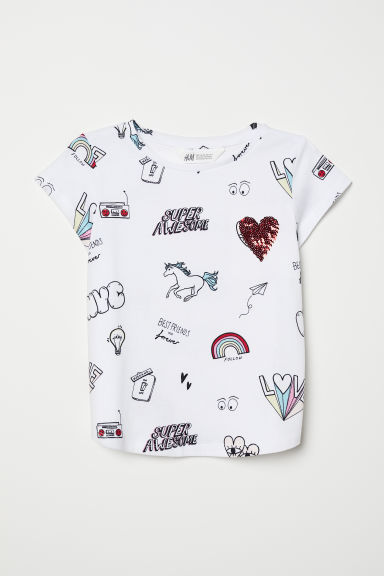 Top with reversible sequins - White/Super Awesome - Kids | H&M