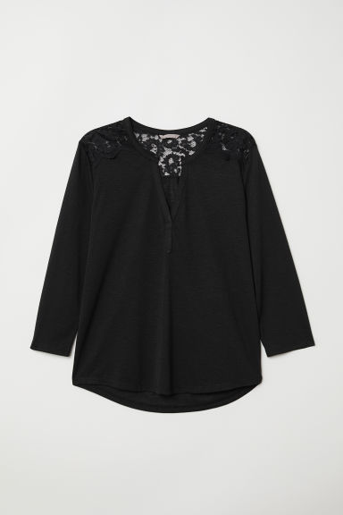 H&M+ Jersey top with lace yoke - Black - Ladies | H&M