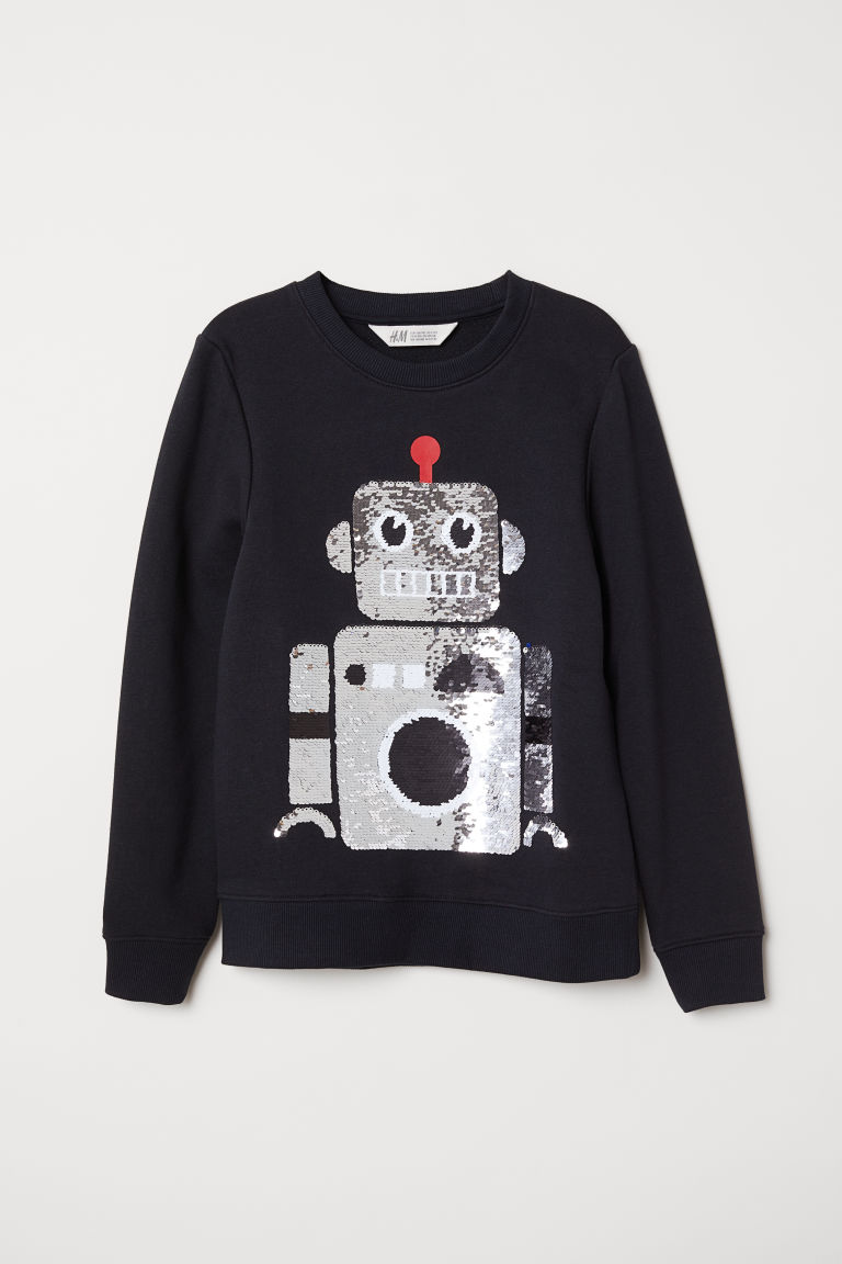 Appliquéd sweatshirt - Black/Robot - Kids | H&M CN