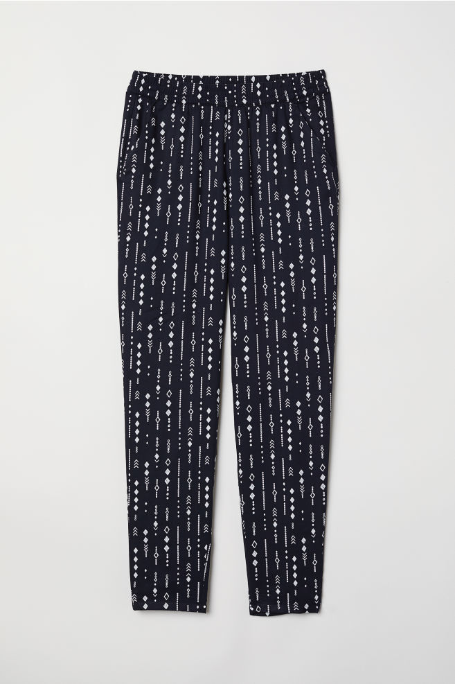 0274fc9250 Pantaloni elastici in viscosa - Blu scuro/fantasia - | H&M ...