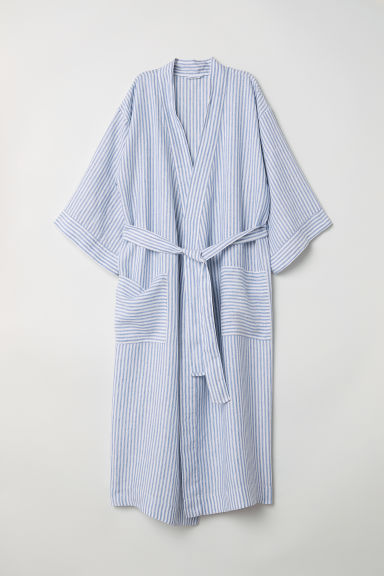 Linen dressing gown - Blue/White striped - Ladies | H&M CN