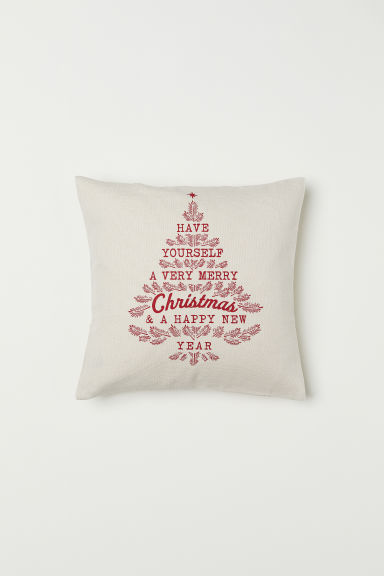 Patterned cushion cover - Natural white/Christmas tree - Home All | H&M CN