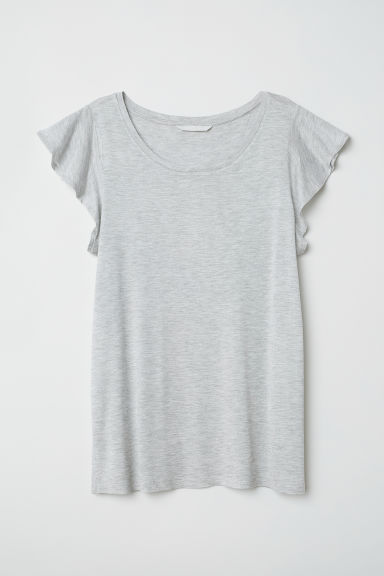 Flounce-sleeved jersey top - Light grey marl - Ladies | H&M CN