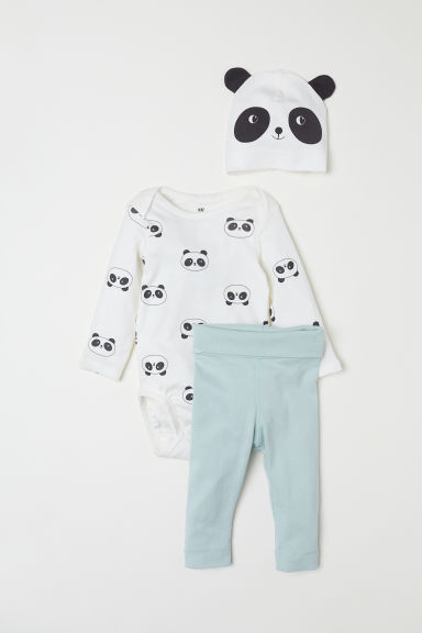 3-piece jersey set - Light turquoise/Panda - Kids | H&M