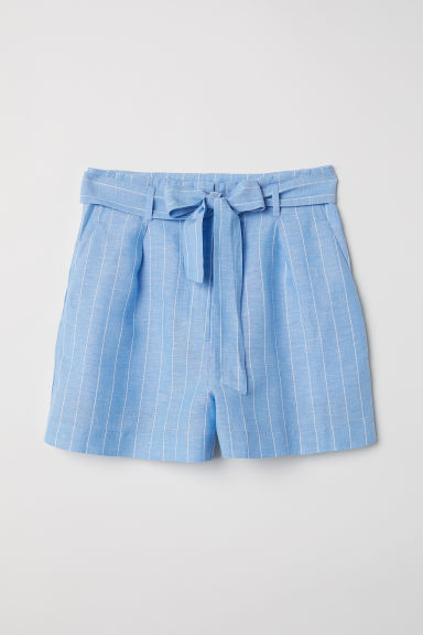 Linen-blend Shorts - Light blue/white striped - Ladies | H&M CA