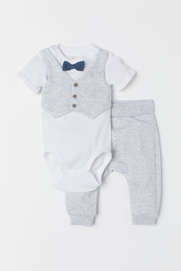 Bodysuit and trousers - Light grey marl/White - Kids | H&M