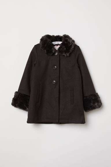 Coat with faux fur - Black - Kids | H&M CN